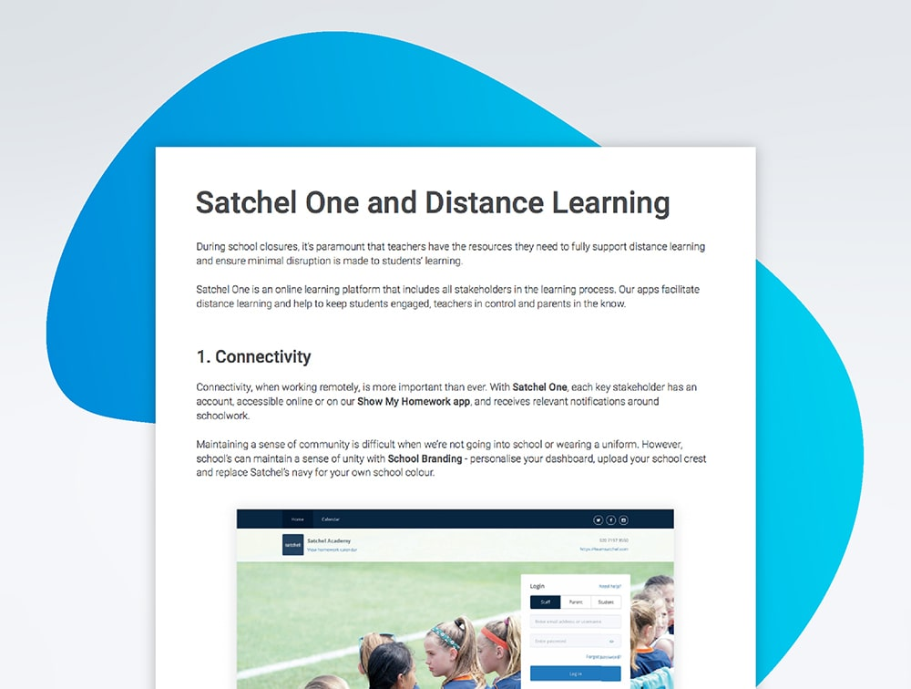 Guide showcasing how Satchel One can support schools during periods of distance learning