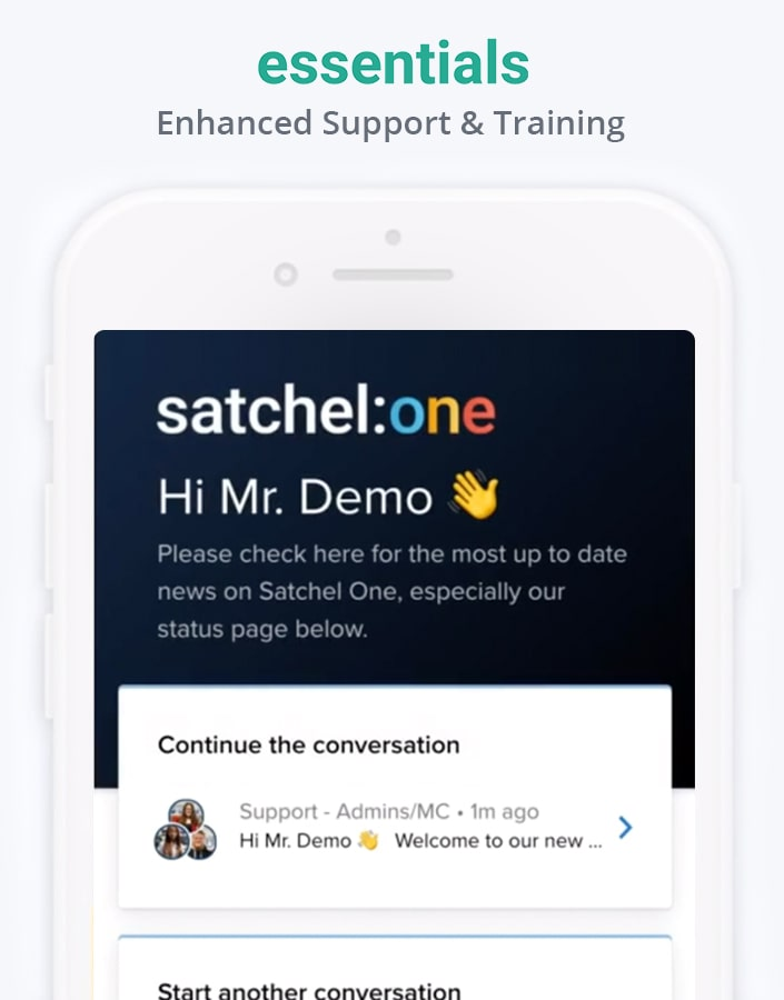 Satchel support chat within mobile