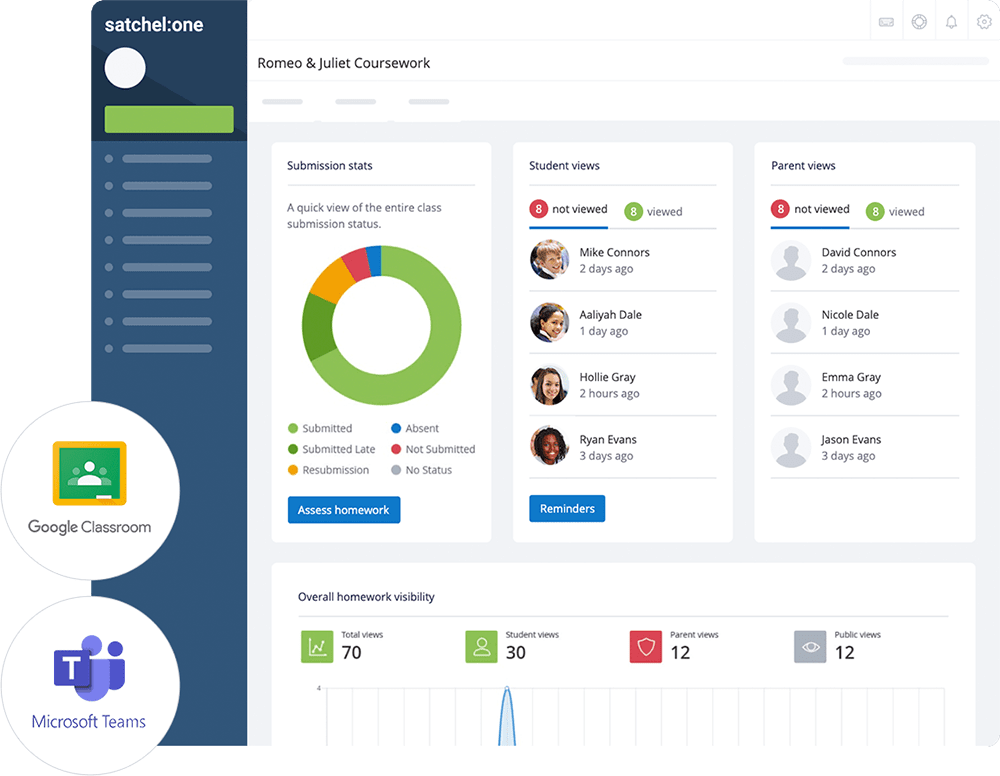 Image of Satchel One and Google Classroom and Microsoft Teams integrations