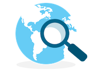 Globe and magnifying glass to show a global use of Show My Homework