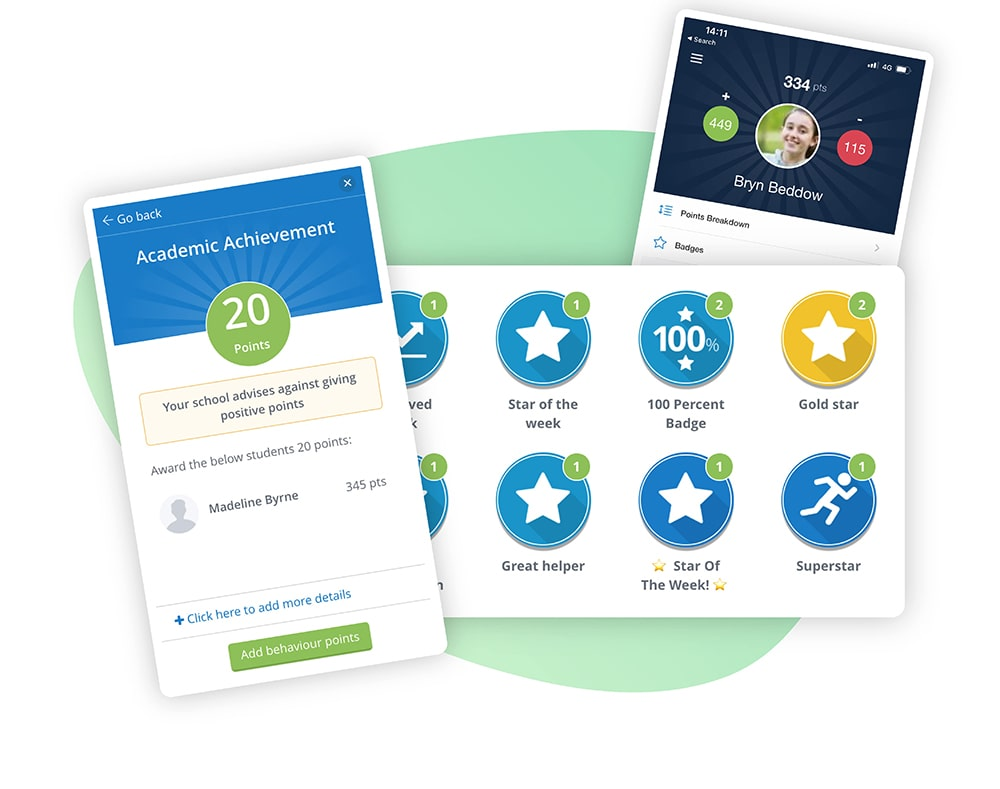 Image of Satchel One's Behaviour software's positive Behaviour points and badge features