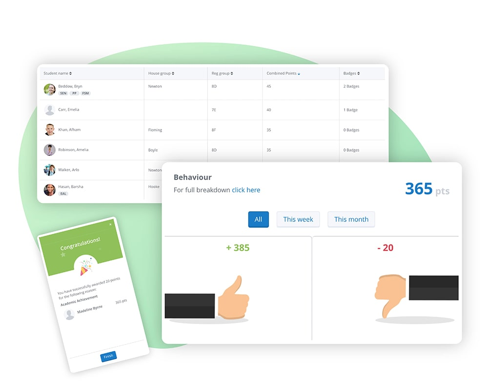 Image of Satchel One's Behaviour app showcasing positive and negative points