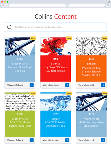 Screen capture showing desktop version of range of textbooks available with Collins Content feature on Show My Homework