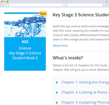 Screen capture showing desktop version of attachable textbooks available with Collins feature on Show My Homework