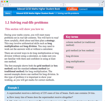 Screen capture showing desktop version of a Collins Content maths textbook available with Show My Homework