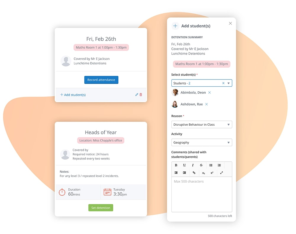 Image of Satchel One's Detentions app and how it integrates with Behaviour Pro