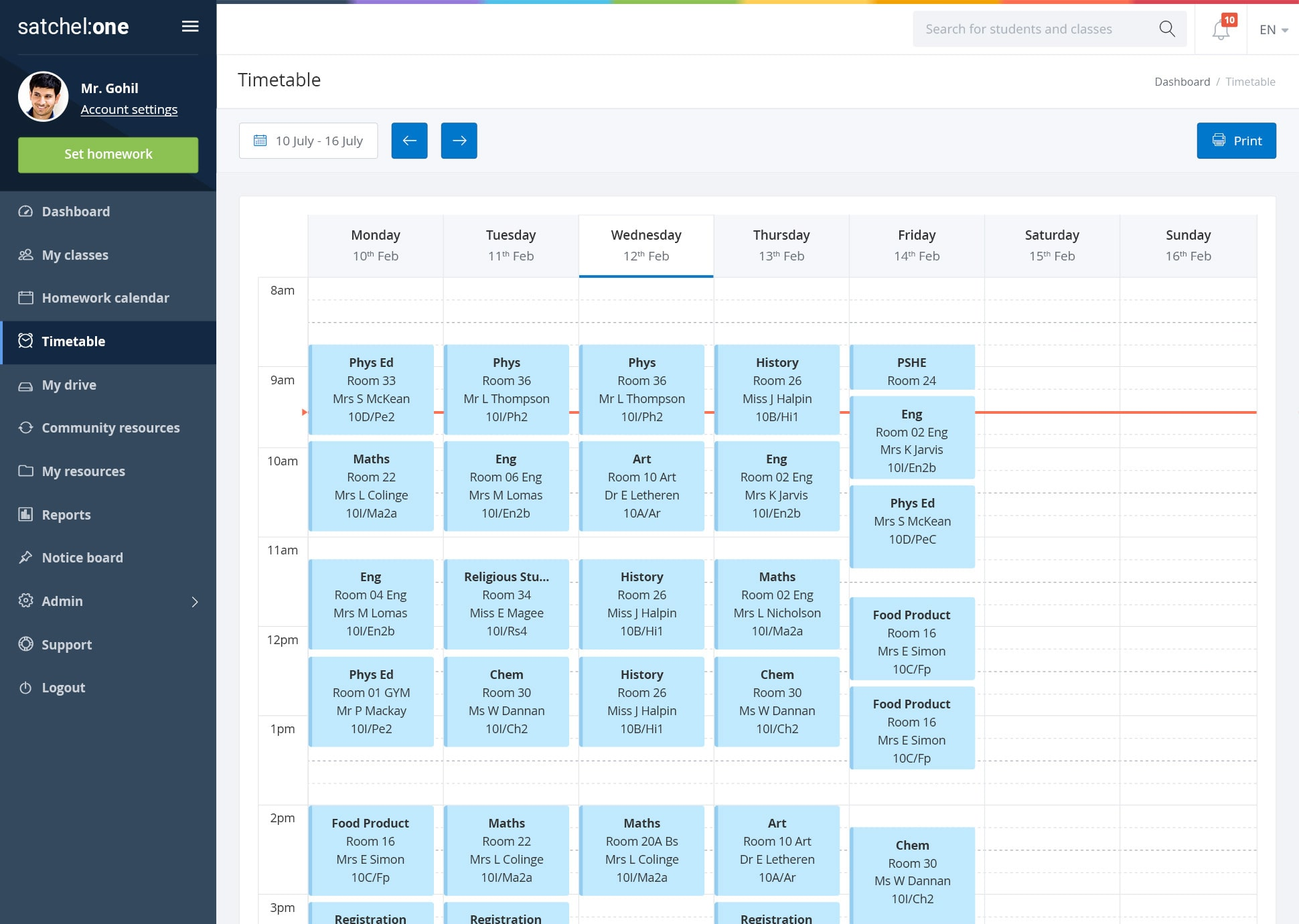 Timetables software showing student and teacher timetables from Satchel One.