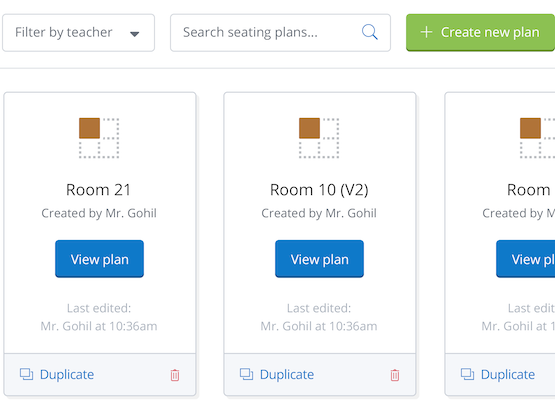 Online Seating feature showing creating and searching for new and existing seating plans by Show My Homework