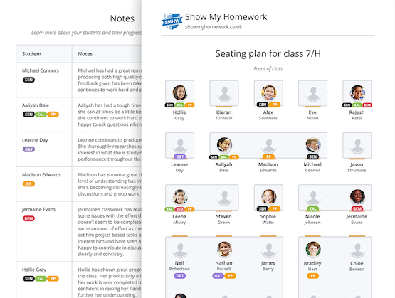 Show My Homework's online Seating feature showing exportable seating plans and additional notes