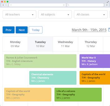 Screen capture showing desktop version of a teacher's Calendar on Show My Homework