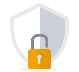 Padlock and shield showing high levels of security and privacy for Show My Homework users