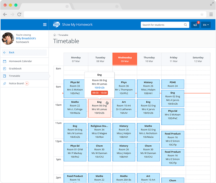 Image of the parent view for student school timetables