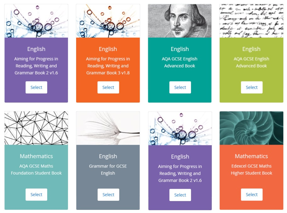 Image of Satchel One's content software, showing Collins online textbooks for core subjects