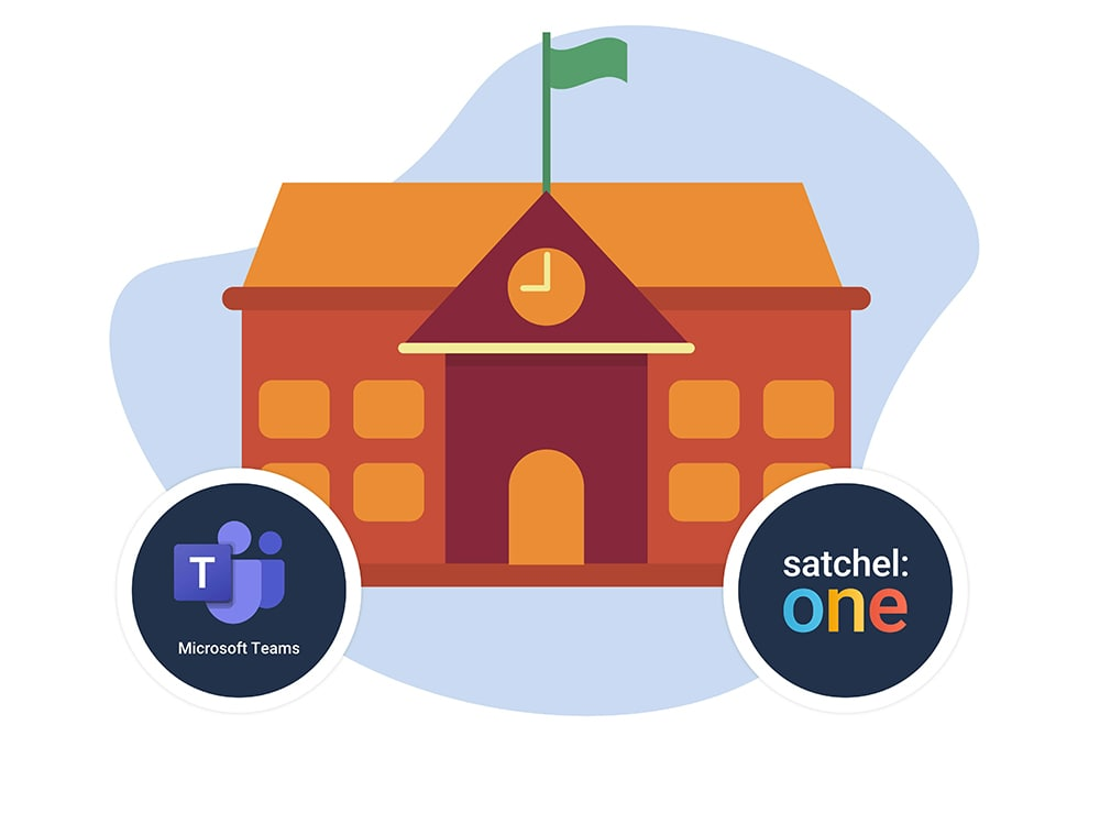 Image of a school and the Satchel One and Microsoft Teams logos