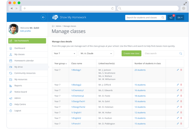 Show My Homework online management tool for school's classes