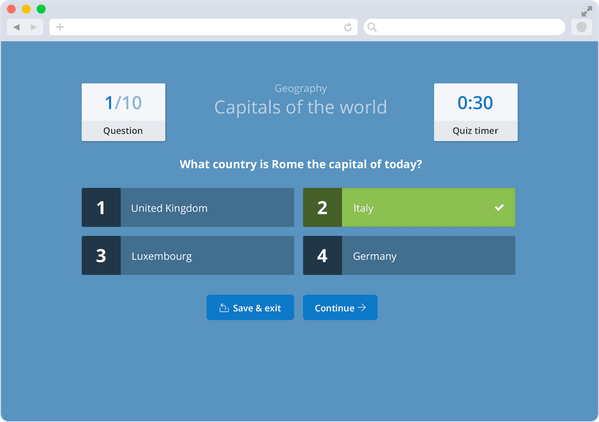 Screen capture showing desktop version of a Geography Quiz that can be set using Show My Homework